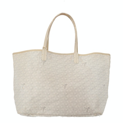 White Goyardine Canvas Saint Louis Tote PM