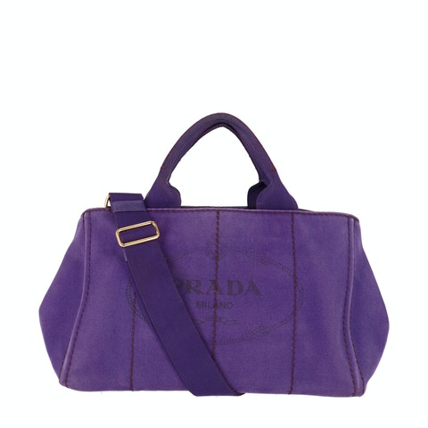 Prada Purple Printed Canvas Tote