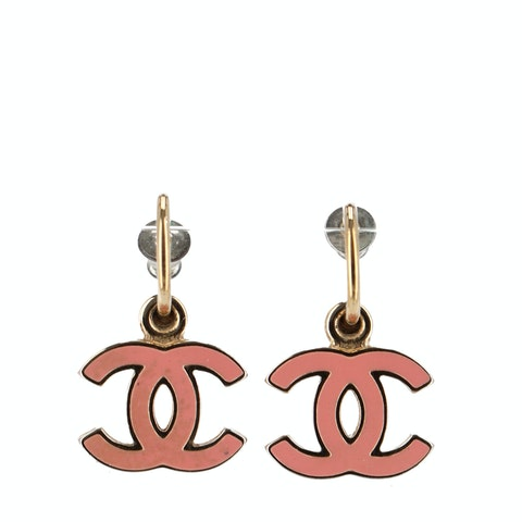 Gold-Toned Medium 'CC' Logo Earrings