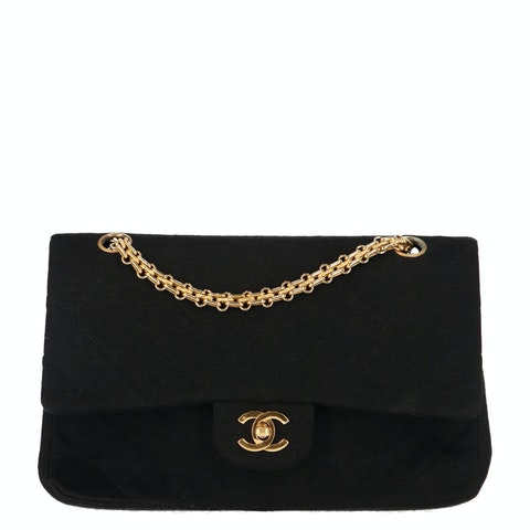 Black Medium Fabric Classic Double Flap Bag