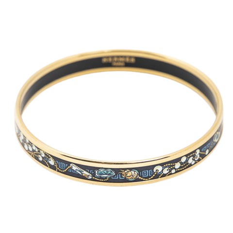 Enamel Bangle PM in White/Blue/Gold Stainless Steel without Nickel