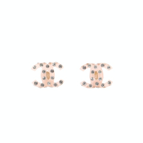 Pink 'CC' Rhinestone Earrings