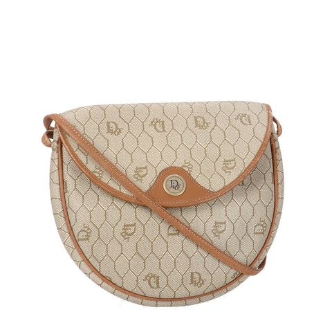Dior Brown Honeycomb Coated Canvas Crossbody