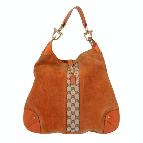 Orange Suede Shoulder Bag