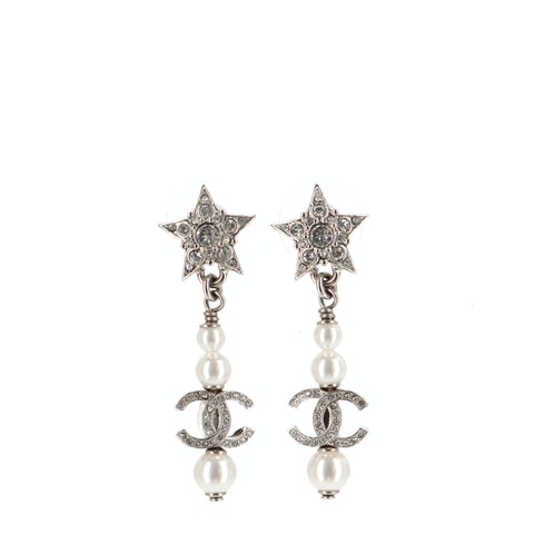 Silver-Toned 'CC' Dangle Earrings