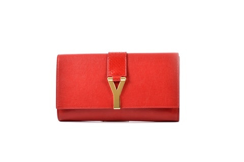 Red Leather Clutch w/Gold Y Clasp