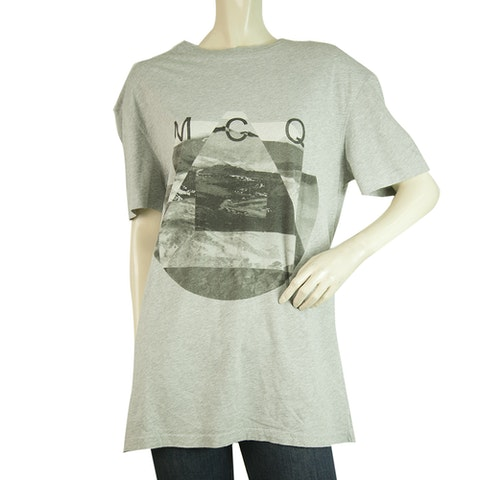 Gray Cotton Short Sleeves Relaxed T- Shirt Top