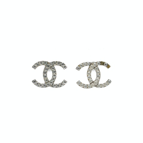 Silver-Toned 'CC' Rhinestone Earrings