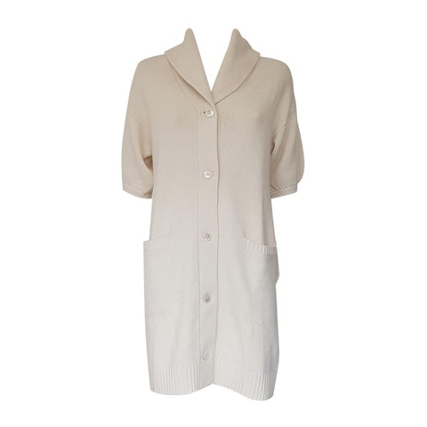 Cream/white merino wool long cardigan