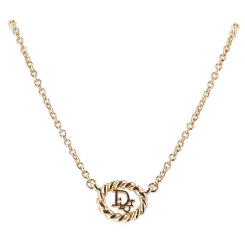 Gold-Toned Oblique Logo Necklace