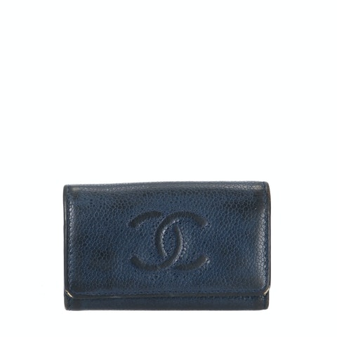 Chanel Navy Calfskin Key Holder