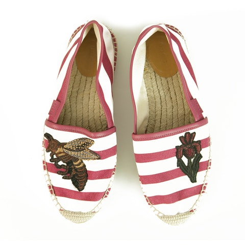 Striped Canvas Bee & Flower Pink White Flat Shoes Espadrilles