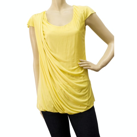 Alexander McQueen Yellow Viscose Drapped Top