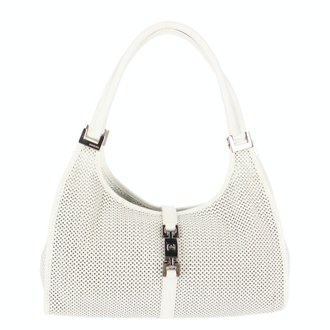 White Perforated Leather Shoulder Bag