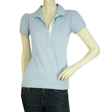 MONCLER Light Blue Short Sleeve deep V Cotton Polo