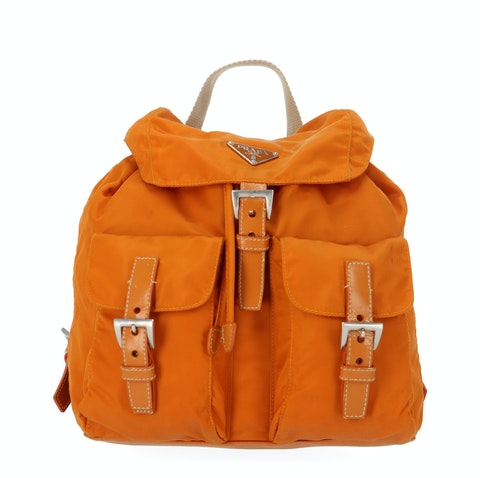 Orange Nylon Small Backpack