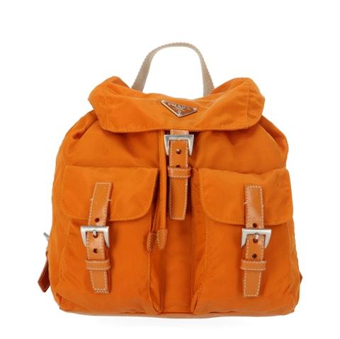 Prada Orange Nylon Small Backpack