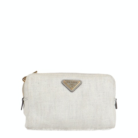 Grey Canvas Cosmetic Pouch
