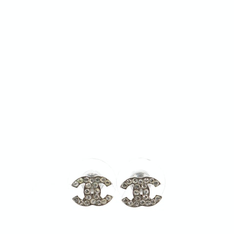 Silver-Toned Mini 'CC' Rhinestone Earrings
