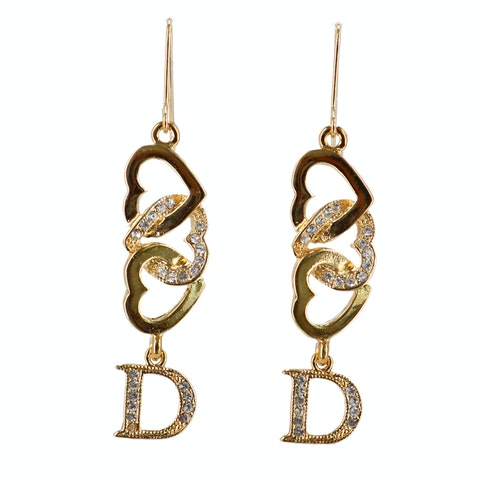 Dior Gold-toned Letter 'D' Earrings