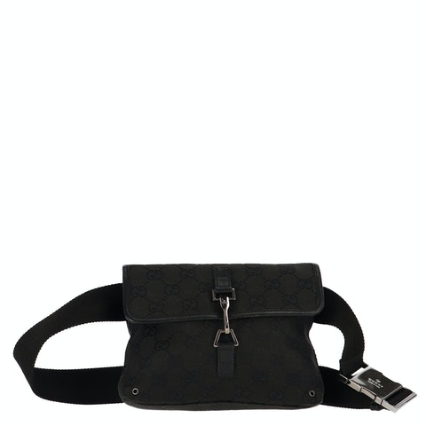 Black Diamante Canvas Belt Bag