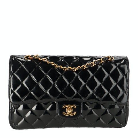Black Medium Patent Classic Double Flap Bag