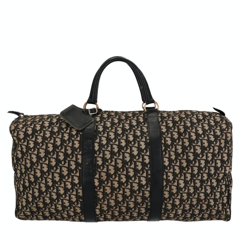 Black Jacquard Canvas Boston Bag