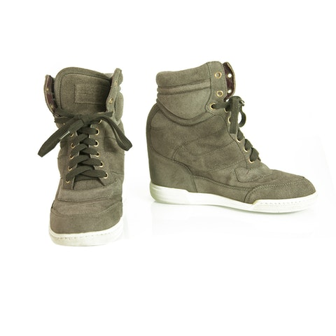 Gray Suede High Top Wedge Sneakers Trainers