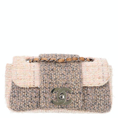 Chanel Grey and Pink Tweed Specialty Flap Bag