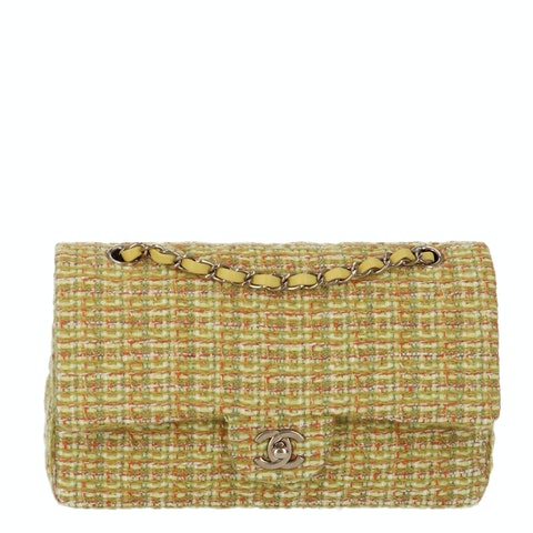 Green Medium Tweed Classic Double Flap Bag