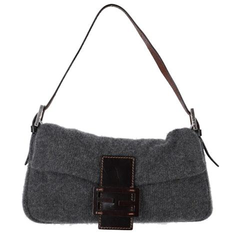 Fendi Grey Knit Baguette