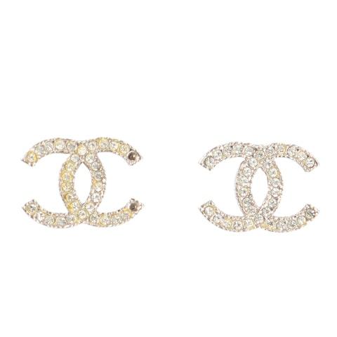 Chanel Silver Medium 'CC' Rhinestone Earrings