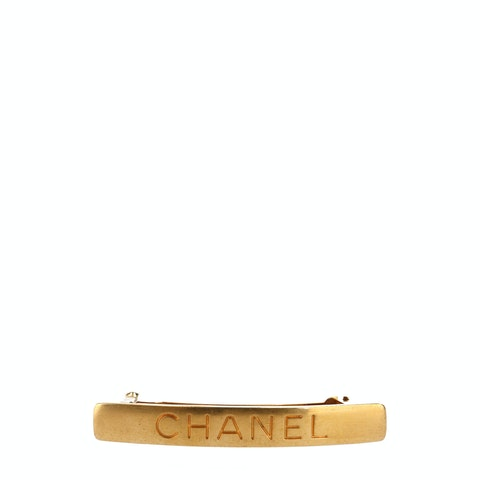 Gold-Toned Metal Logo Barrette