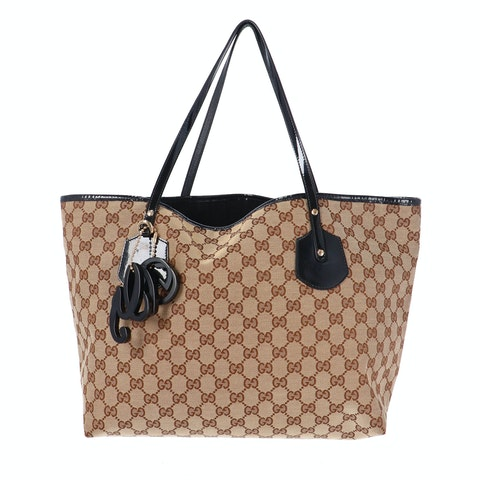 Brown Diamante Canvas Shopper
