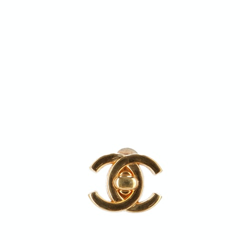 Gold-Plated 'CC' Clip-On Earring
