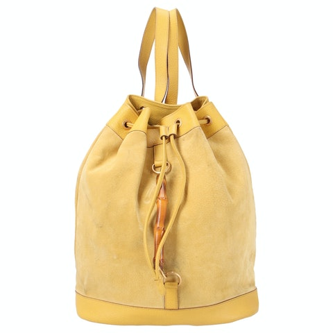 Yellow Suede Bamboo Backpack