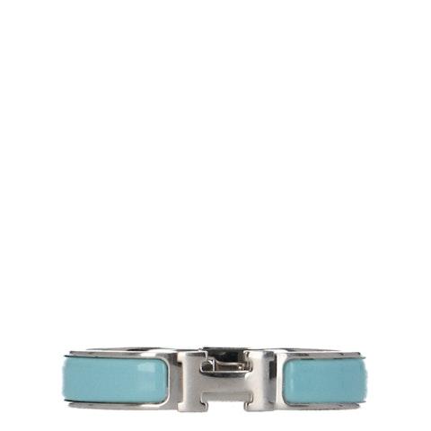 Hermes Blue Enamel and Palladium-Plated Clic Clac H Bracelet