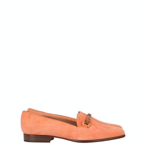 Pink Suede Bamboo Horsebit Loafers