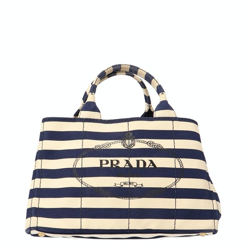 Blue and White Printed Canvas Tote