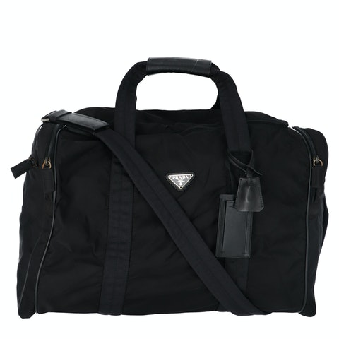 Black Nylon Boston Bag