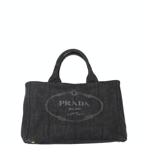 Prada Black Wash Printed Denim Tote