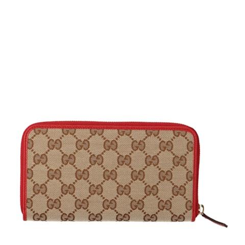 Brown Diamante Canvas Zip-Around Wallet
