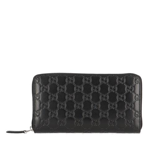 Black MicroGuccissima Leather Zip-Around Wallet