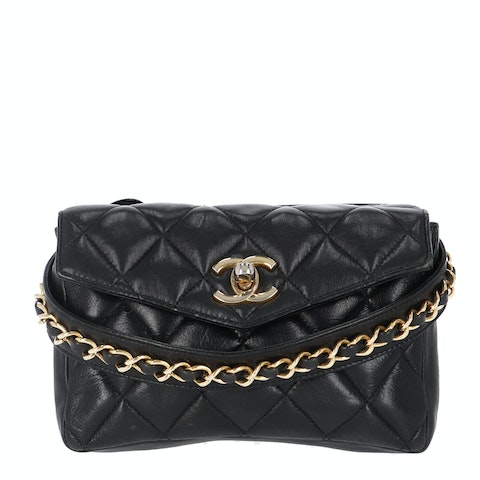 Chanel Black Medium Lambskin Waist Bag