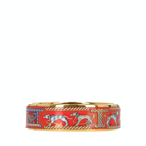 Red Printed Enamel and Gold-Toned Bracelet