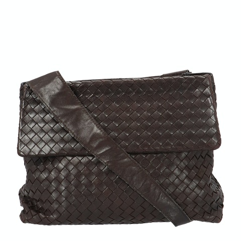Bottega Veneta Brown Intrecciato Shoulder Bag