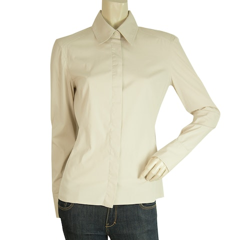 Beige Criss Cross Drawstring Back Fitted Button Down Shirt Top