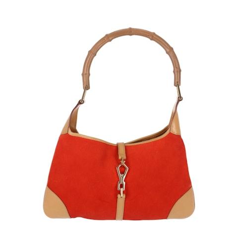 Gucci Orange Suede Bamboo Shoulder Bag