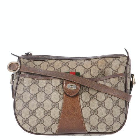 Gucci Brown Diamante Coated Canvas Accessory Collection Crossbody