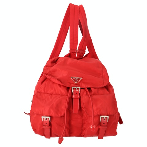 Red Nylon Large Backpack